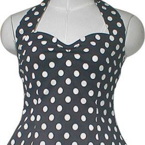 haut bustier rockabilly pin up évasé noir à pois