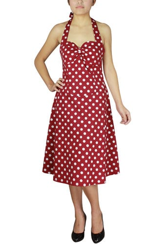Robe pin up rouge pois blanc
