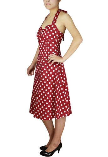 robe Pin-Up rockabilly à pois rouge