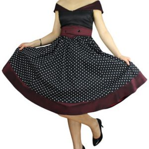robe Pin-Up Vintage Satin à Pois Noir Bordeaux