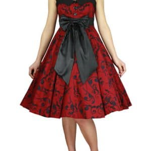 robe Pin-Up pin-up vintage structuré floral rouge