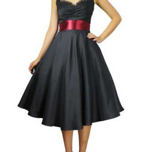robe rétro pin-up satin noir ruban rouge