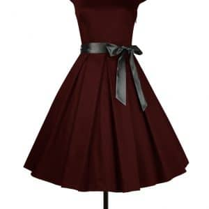 robe Rockabilly col rond bordeaux