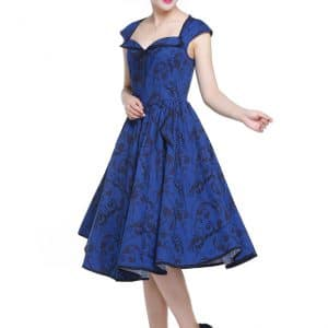 robe Rockabilly floral petit noeud bleue