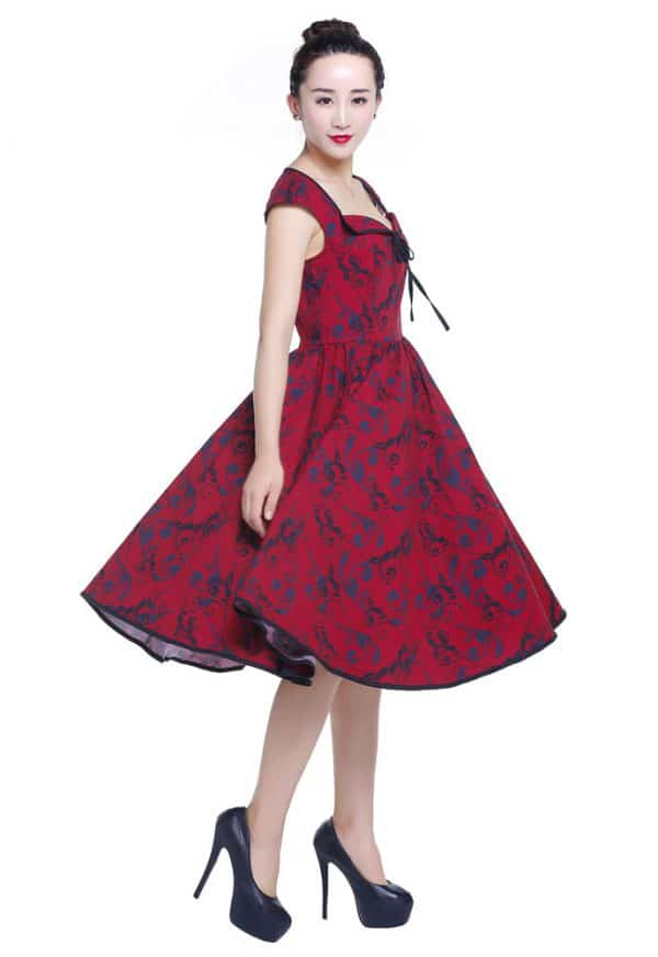robe Rockabilly floral petit noeud Rouge