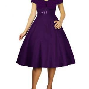 robe Rockabilly pin-up violette à pois