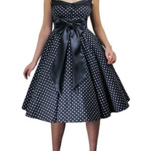 robe Rockabilly pin-up noir structurée à pois noire