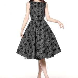robe Rockabilly motif Baroque Grise