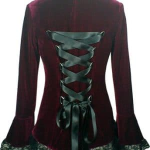 veste gothique velours Fellony bordeaux