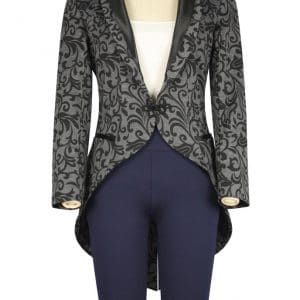 veste rétro queue de pie floral gris