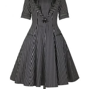 robe Retro Vintage Noir Rayures Blanches