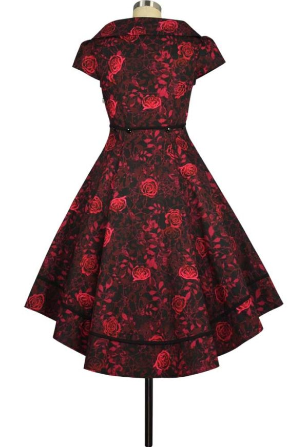 robe rockabilly noire roses rouges