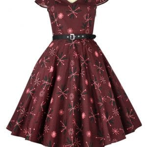 Robe rockabilly PinUp Carreaux Bordeaux Motifs